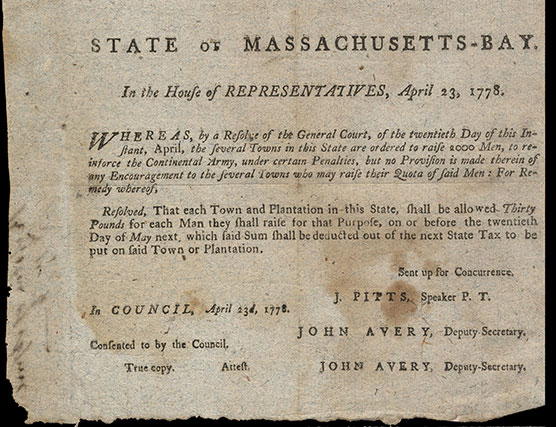 Resolution to raise troops, 1778